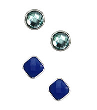 Nine West® Blue and Green Faceted Stone Stud Pierced Earrings Set