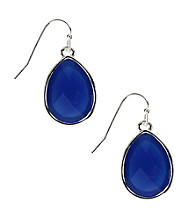 Nine West® Blue Opaque Faceted Stone Teardrop Pierced Earrings