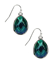 Nine West® Teal Blue Opaque Faceted Stone Teardrop Pierced Earrings