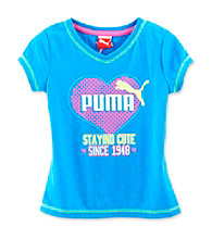 PUMA® Girls' 2T-6X Ocean Blue Staying Cute Screen Tee