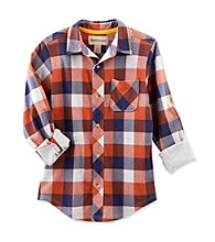 Ruff Hewn Boys' 8-20 Orange Jewel Long Sleeve Plaid Shirt