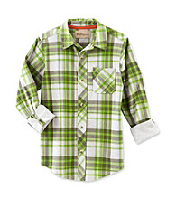 Ruff Hewn Boys' 8-20 Blarney Green Long Sleeve Plaid Shirt