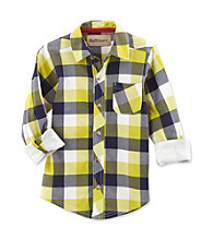Ruff Hewn Boys' 2T-7 Lime Dash Long Sleeve Plaid Shirt