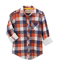 Ruff Hewn Boys' 2T-7 Orange Jewel Long Sleeve Plaid Shirt