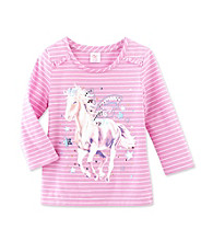 Little Miss Attitude Girls' 4-6X Ole Orchid Horse Ruffle Sleeve Graphic Tee
