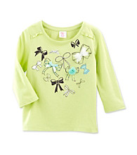 Little Miss Attitude Girls' 4-6X Lime Hint Bows Ruffle Sleeve Graphic Tee