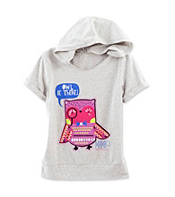 Mambo® Girls' 7-16 Heather Grey Owl Short Sleeve Hoodie Tee