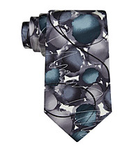 J. Garcia Men's Gray Courtyard Performance Silk Tie