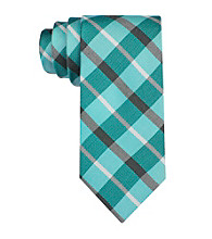 Calvin Klein Men's Aqua 'Carousel' Plaid Silk Tie