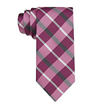 Calvin Klein Men's Fuschia 'Carousel' Plaid Silk Tie