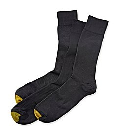 GOLD TOE® Men's Black Extended Size Fashion 3-Pack Crew Dress Socks