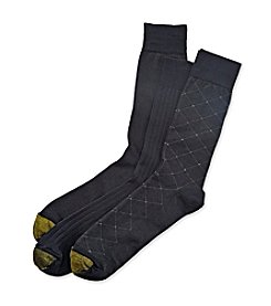 GOLD TOE® Men's 3-Pack Navy Extended Sizes Fashion Crew Dress Socks