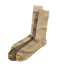 GOLD TOE® Men's Khaki Extended Size Fashion 3-Pack Crew Dress Socks