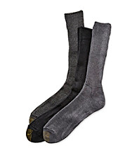 GOLD TOE® Men's Grey Heather/Charcoal/Black Extended Size Fluffies 3-Pack Crew Casual Socks