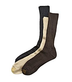 GOLD TOE® Men's Khaki/Brown/Black Extended Size Fluffies 3-Pack Crew Casual Socks
