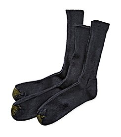 GOLD TOE® Men's Navy Extended Size Fluffies 3-Pack Crew Casual Socks