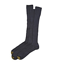 GOLD TOE® Men's Navy Extended Size Canterbury Over the Calf 3-Pack Dress Socks