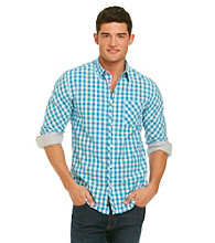 DKNY JEANS® Men's Pop Blue Gingham Long Sleeve Woven Shirt