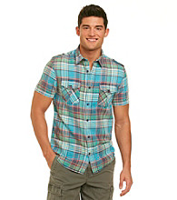 Guess Men's High Tide Blue Short Sleeve Dillon Freeport Large Check Woven