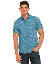 Guess Men's High Tide Blue Short Sleeve Wave Check Print Woven
