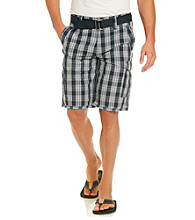 DKNY JEANS® Men's Deep Night Exploded Plaid Cargo Short