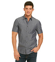 DKNY JEANS® Men's Deep Night Short Sleeve Text Patch Dobby Woven
