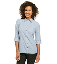 Relativity® Casual Hardware Button Front Shirt