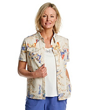 Alfred Dunner® Point Collar Button Front Butterfly