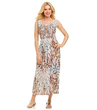 Notations® Smocked Feather Print Maxi Dress