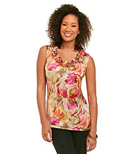 Notations® Ruffled Neck Floral Print Top