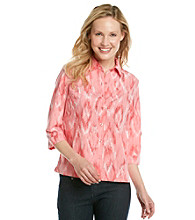 Studio Works® Petites' Button Down Ikat Print Shirt