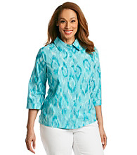 Studio Works® Plus Size Button Front Ikat Print Shirt