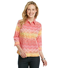 Studio Works® Petites' Button Front Zig-Zag Print Shirt