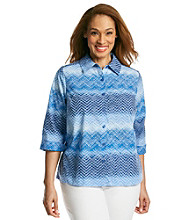 Studio Works® Plus Size Button Down Zig-Zag Shirt