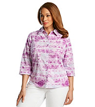 Studio Works® Plus Size Button Down Paisley Tie-Dye Print Shirt