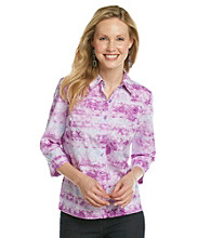 Studio Works® Petites' Button Down Paisley Tie-Dye Print Shirt