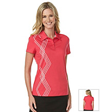 PGA Tour® Collared Henley Asymmetrical Argyle Print Polo Shirt