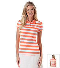 PGA Tour® Henley Striped Print Polo Shirt