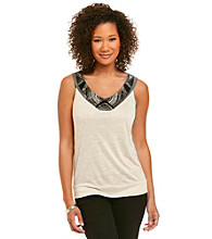 AGB® Embellished V-Neck Knit Top