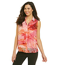 AGB® Button Front Sheer Floral Top