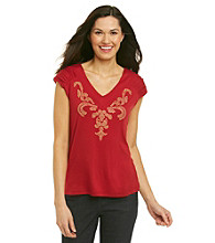NY Collection® Shirred Sleeve V-Neck Embellished Top