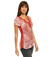 Oneworld® Notchneck Lace Embellished Tee