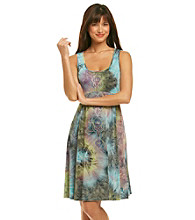 Oneworld® Scoopneck Embellished Tie-Dye Print Dress