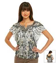 Oneworld® Notchneck Lace Back Printed Top