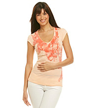 Calvin Klein Jeans V-Neck Burnout Stripe Paisley Graphic Tee.