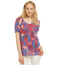 Nine West Vintage America Collection® Keaton V-Neck Paisley Peasant Top