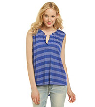 Nine West Vintage America Collection® Splitneck Hi-Low Hem Striped Tank