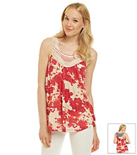 Nine West Vintage America Collection® Openwork Yoke Floral Print Tank