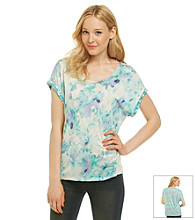 Nine West Vintage America Collection® Scoopneck Freesia Floral Print Tee
