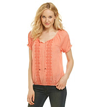 Nine West Jeans® Carina Tie Neck Embroidered Peasant Top